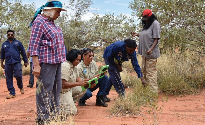 Indigenous Rangers in Alice Springs learning cyber tracking with Arrernte elder Veronica Dobson (Central Land Council photo).
